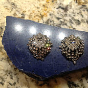 Vintage Large Rhinestone  Clip-On Earrings Aurora Borealis