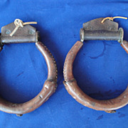 SALE Set of 2 Vintage Leather & Brass Western Stirrup
