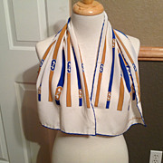 "Vintage Salatore Ferragamo Scarf  11 1/2"" by 37 1/2"" White, Blue, and Gold"