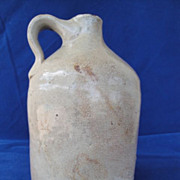 SALE PENDING Antique SOUTHERN POTTERY Salt-Glaze Crock Whisky Jug  1 � Quart Circa 1900�s