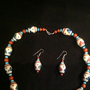 Vintage Southwestern Style Necklace and Earrings, Hand Beaded