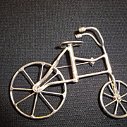 SOLD Vintage Sterling .925 Bicycle Brooch or Pin Moving Details