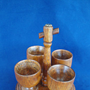 SOLD Vintage   Wood  5 Piece Egg Cup Server Set