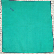 REDUCED Vintage Authentic YSL Bright Green & Navy Embroidered Stitched Rolled Edge Silk Pocket