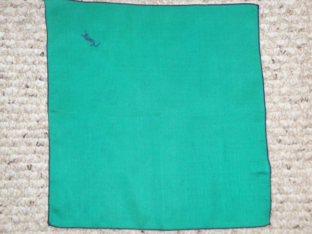 Vintage Authentic YSL Bright Green & Navy Embroidered Stitched Rolled Edge Silk Pocket Square