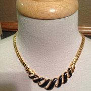 "Vintage Trifari Gold Tone Black enamel 18"" Necklace Signed"