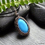 Blue Howlite and Sterling Weave Necklace