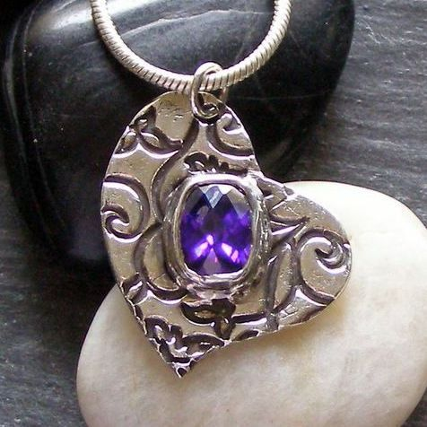Fine Silver Pendant Heart with Dark Amethyst Cubic Zirconia