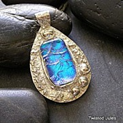 Fine Silver Pendant with purple:blue: green  Dichroic glass