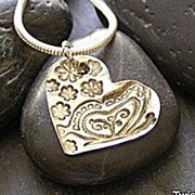 Fine silver heart pendant, butterfly and flowers