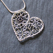 Sterling wire Heart and Swarovski crystal