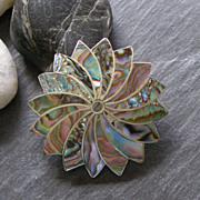 Sterling and Mother of Pearl Mexico pendant brooch