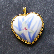 Arita Japan Porcelain heart Pendant, flowers