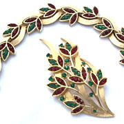 SALE Amazing Trifari Red & Green Rhinestone Brooch & Bracelet Set