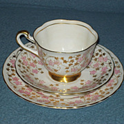 SALE Vintage New Chelsea Fine Bone China Cake Plate, Teacup and Saucer