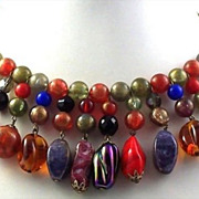 SALE Rare Trifari Multi-Colored Beaded Collar Necklace & Earrings