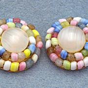 SALE Pretty Trifari Pastel Glass Beaded Earrings