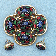 SALE Sarah Coventry 1968 'Light of the East' Brooch & Earrings