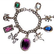 Fabulous Vintage Chunky Silver Tone & Colored Glass Charm Bracelet