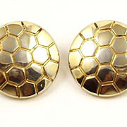 SALE Vintage Trifari Gold Plate Honeycomb Clip Earrings