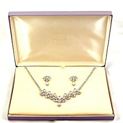 SALE Sparkling B. David Rhinestone Necklace & Earrings Set