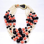SALE Gorgeous Kenneth Lane Faux Pearl & Lucite Bead Necklace