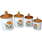 Merry Mushroom Canister Set Sears Roebuck 1982
