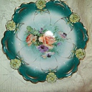 Antique RS Prussia  related  Scalloped Floral Panels Bowl