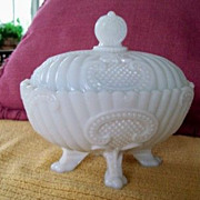 SOLD Candy Dish; Footed Milk Glass;Vallerysthal, France, Opalescent Milk Glass