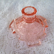 Depression Glass; Tea Room Pink candlestick