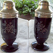 Depression Glass Black Cloverleaf Salt & Pepper Shakers