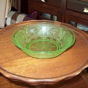 SOLD Depression Glass Green Horseshoe Cereal Bowl