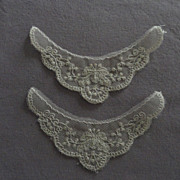 SOLD Vintage Nottingham Lace Motifs Trim for Doll Clothes, plus Doll Table Scarf - Jumeau