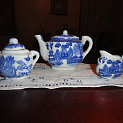 SALE Blue Willow Doll's Tea Set - Gently used