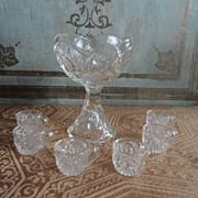 SALE Hard to Find Pressed Glass Footed Punch Bowl and Cups