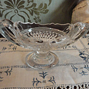 SALE Pressed Glass Footed Bowl with Handles
