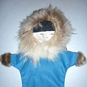 SALE 1960's Eskimo Hand Puppet-one of a kind
