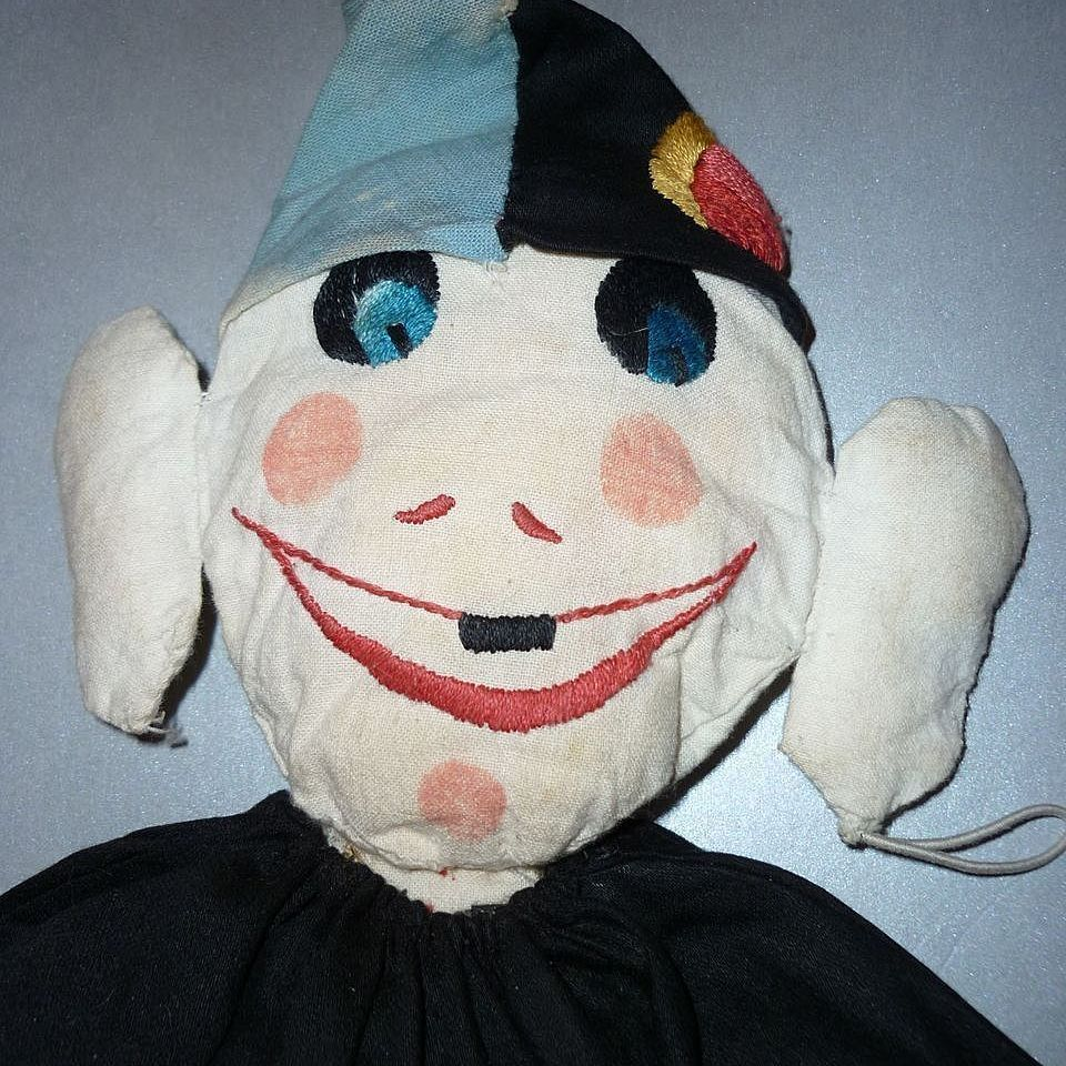 Clown Doll-hand made and embroidered in 1940's-with provenance