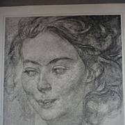 SALE F.H. Varley 1950's lithograph- Head of a Girl- from 1936 drawing