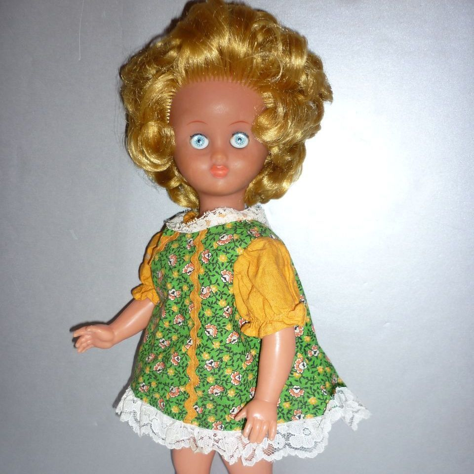 "Vintage Italian Doll in Mini dress-16"" - 1970's gal"