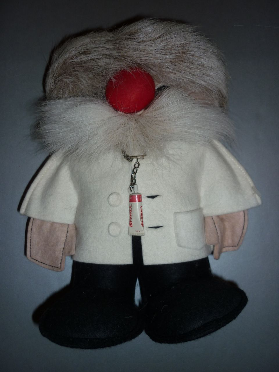 1970's Canadian  FuFel Dentist Doll-made from Felt and Reindeer