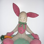 "REDUCED 1950's Mask Face  Felt Bunny Rabbit 13""-Great Character"