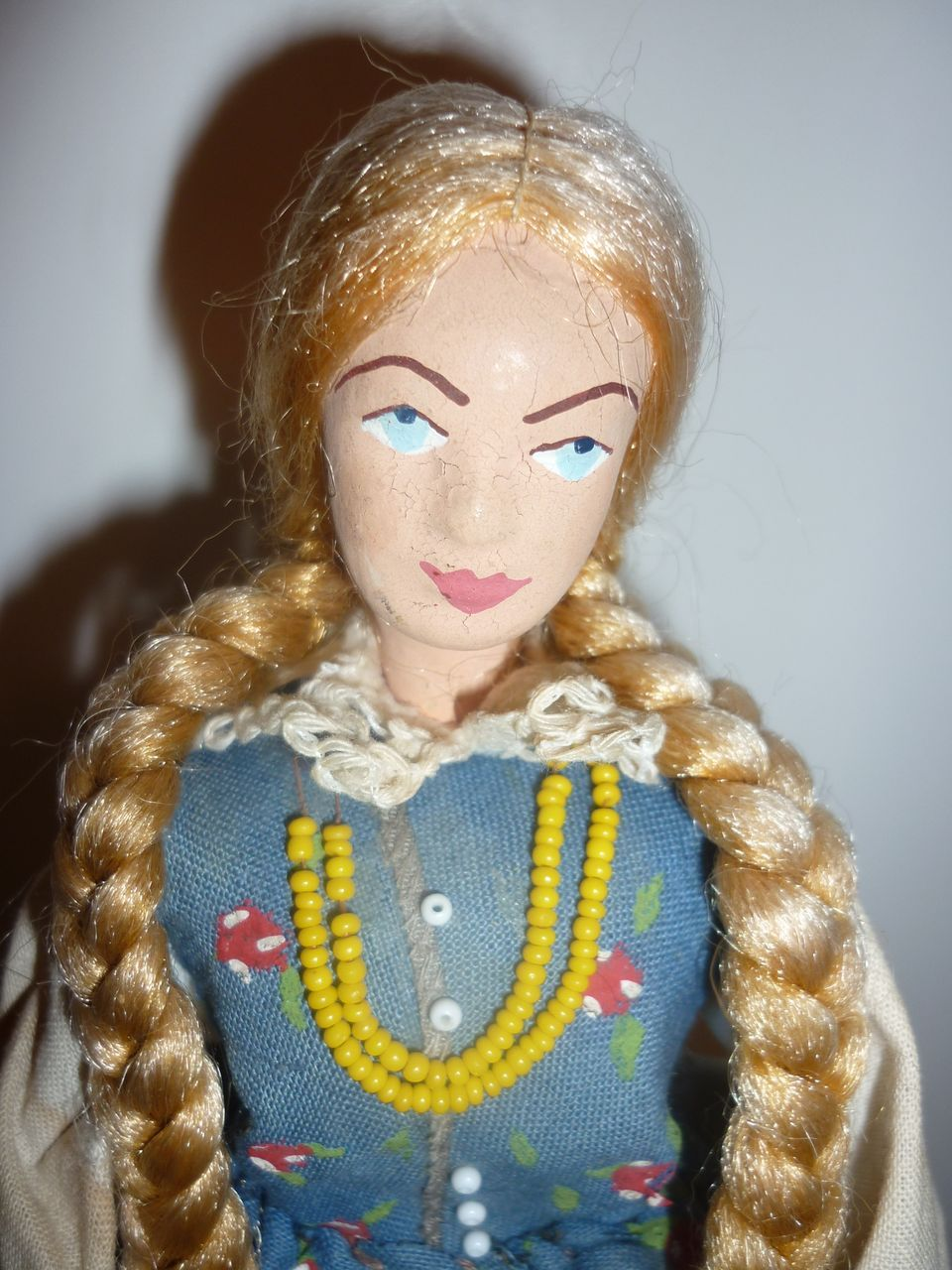 old Swiss Miss Doll 10&quot; tall with long blonde hair-cloth and clay construction