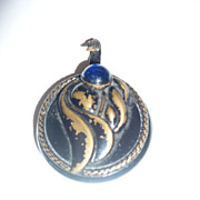 SALE Victorian Button with Blue Glass Cabochon - Hook clasp
