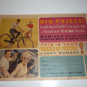SALE 1964 CCM Bicycle Advertising Flyer -Hard to find Ephemera