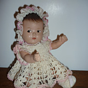 "SALE Madame Alexander Dionne Quint Doll-6"" in vintage crocheted outfit"