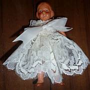 "SALE Germany - Painted All Bisque Dollhouse Doll - 5"" tall in white lace"