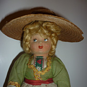"SALE Vintage 11"" Cloth Doll-All Original Clothing, Shoes-Straw Hat"