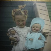 SALE 1940's Photo of Little Girl with Two Dolls-composition babies