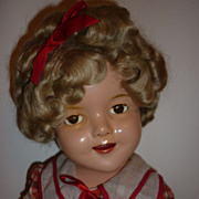 "SALE Reliable Canadian Shirley Temple Doll - 22"" Brown Eyed -Original Dress"